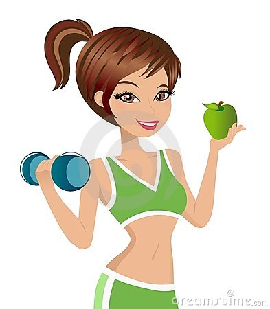 Fitness Girl Holding Weight and Apple