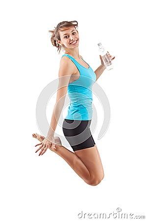 Fitness girl jumping