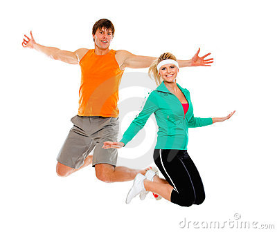 Fitness girl and man in sportswear jumping