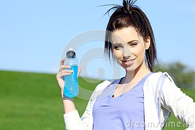 Fitness girl in park.