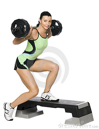 Free Fitness Girl With A Weight Royalty Free Stock Photos - 9110168