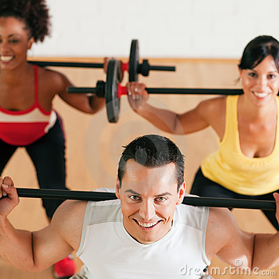Free Fitness Group With Barbell In Gym Royalty Free Stock Images - 12408399