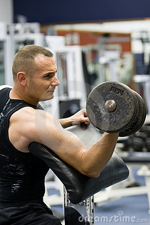 Fitness gym training with weights