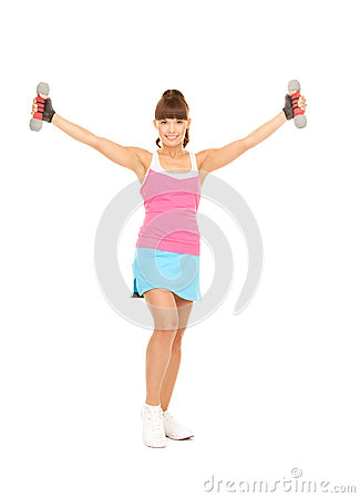 Fitness instructor with dumbbells