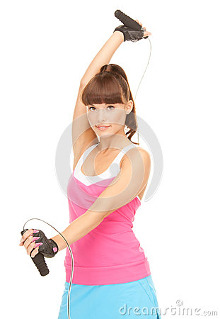 Fitness instructor with jump rope