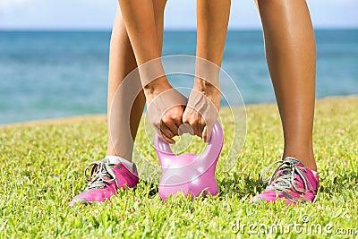 Fitness - kettlebell crossfit woman