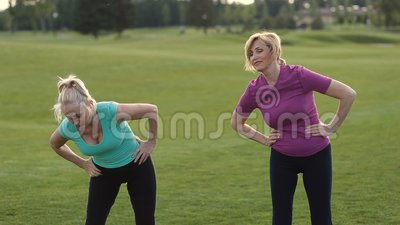 Fitness ladies making stretching exercise outdoors stock video footage