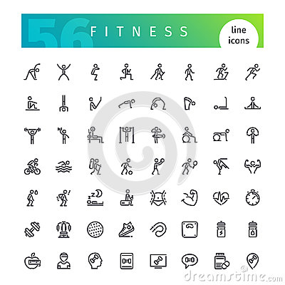 Free Fitness Line Icons Set Stock Photo - 99209780