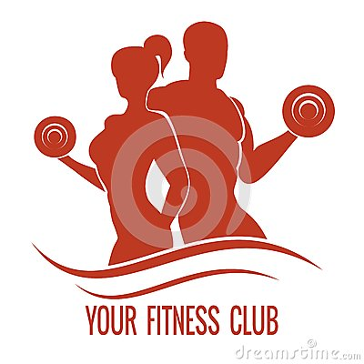 Free Fitness Logo With Muscled Man And Woman Stock Images - 48617314