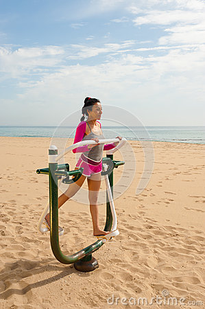 Fitness machine on beach