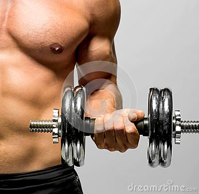 Powerful Muscular Man Lifting Weights Royalty Free Stock ...