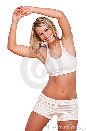 Fitness series - Young blond woman exercising