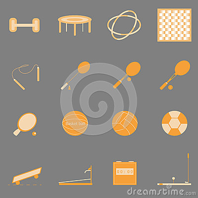 Fitness sport orange color icons on gray backgroun