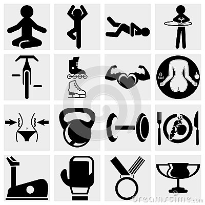 Fitness and sports vector icon set.