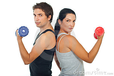 Fitness team people with barbell