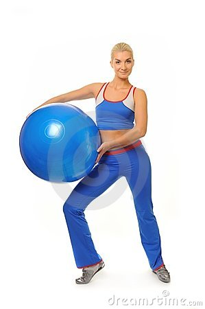 Fitness trainer with a ball
