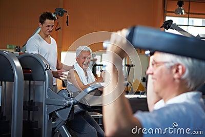 Fitness trainer coaching senior