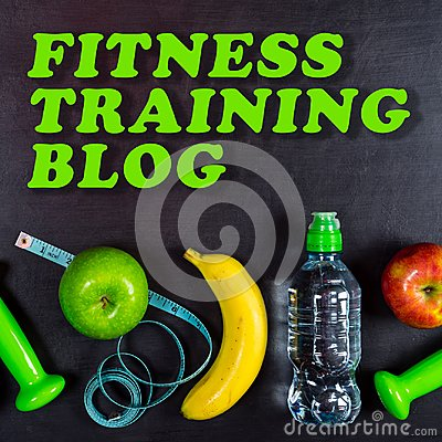 Free Fitness Training Blog Concept. Dumbbell, Massage Ball, Apples, Banana, Water Bottle And Measuring Tape On Black Background Royalty Free Stock Image - 108737256