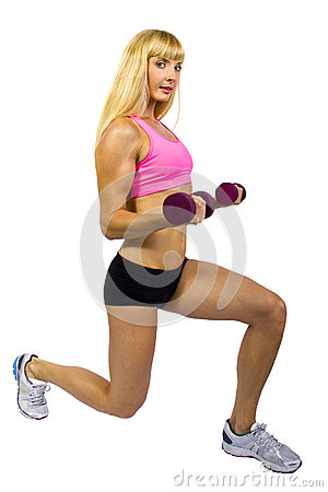 Fitness Training with dumbbells