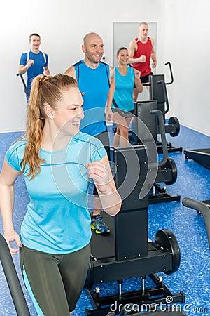 Fitness treadmill woman enjoy group class