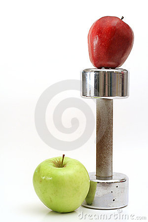 Fitness weight with 2 apples