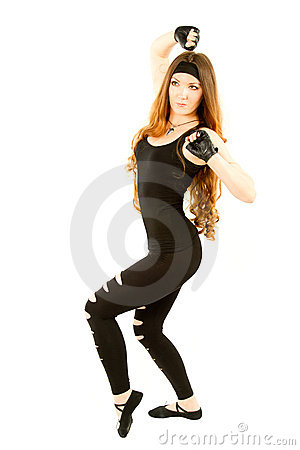 Fitness woman dancing in gym on isolated
