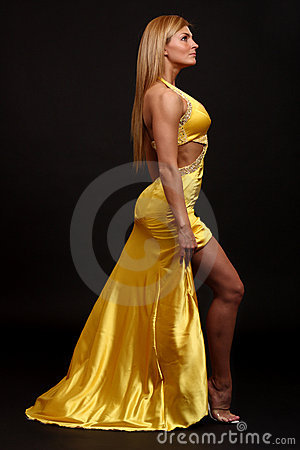 Fitness woman in evening-dress
