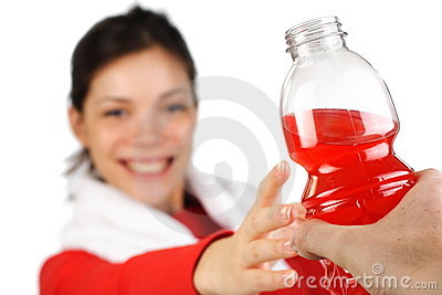 Fitness woman getting sports drink