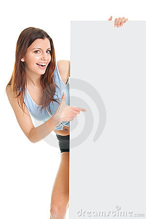 Fitness woman presenting empty placard
