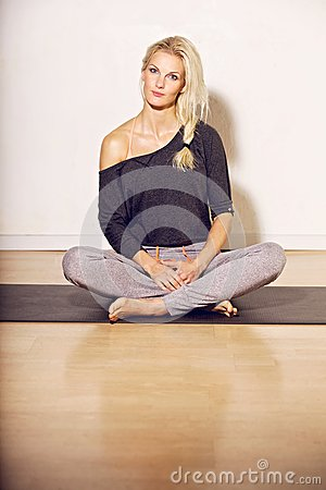 Fitness Woman Sitting on the Floor
