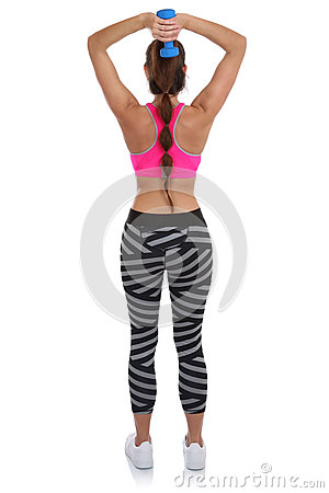 fitness woman at sports workout training back shoulder