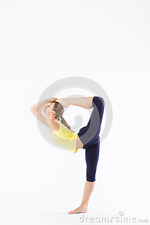 Fitness woman stretching full body isolated