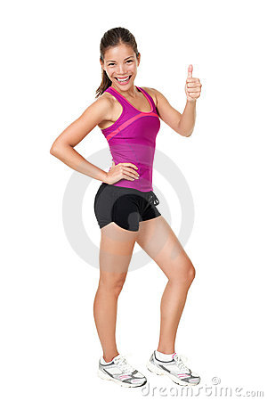 Free Fitness Woman Thumbs Up Success Sign Stock Photography - 21473822