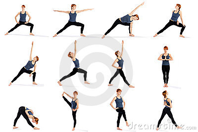 Young attractive female fitness model in various standing yoga poses ...