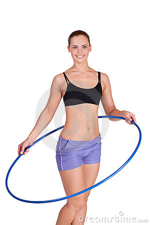 Fitness woman working with hula hoop