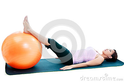 Fitness Woman Workout With Balance Ball