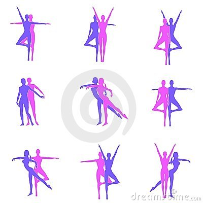 Fitness Yoga Dance Silhouettes