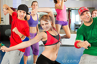 Fitness - Zumba dance training in gym