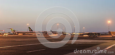 Fiumicino Airport by night Editorial Image