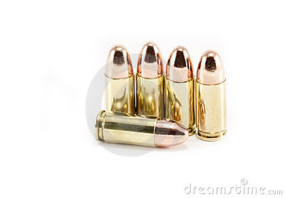 Five 9mm bullets on white