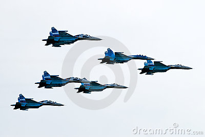 Five airplanes SU-27