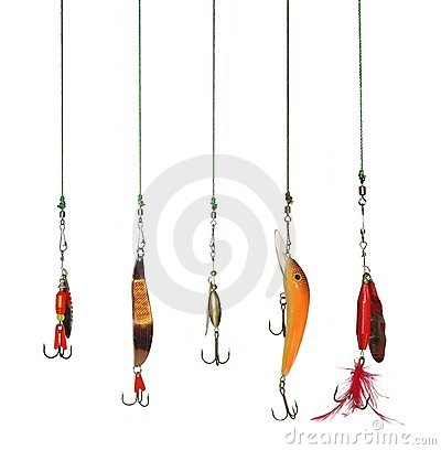 Five artificial angling baits