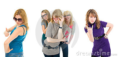 Five attractive girls isolated on a white