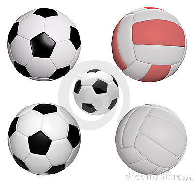 Five balls collection isolated with clipping path