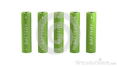 Five batteries isolated on white background