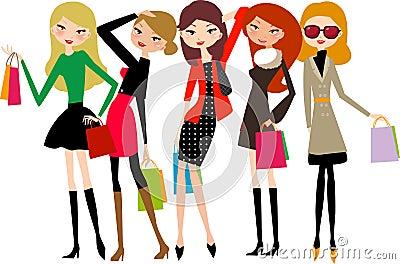 Five beautiful girls on a shopping