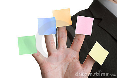 Five blank adhesive note reminders