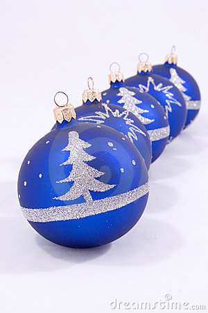Five blue Christmas baubles