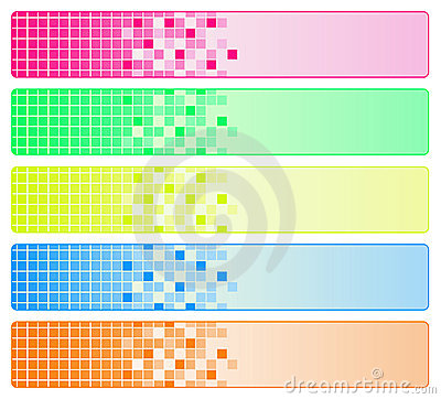 Five bright abstract banners