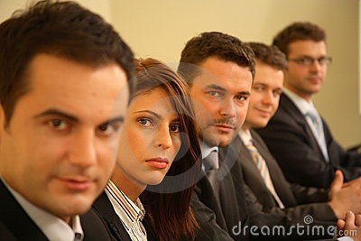 Five business people  portrait